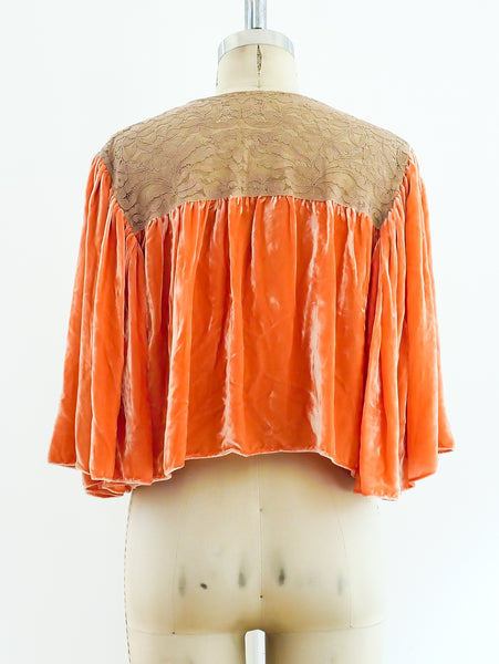 1920's Peach Velvet and Lace Top