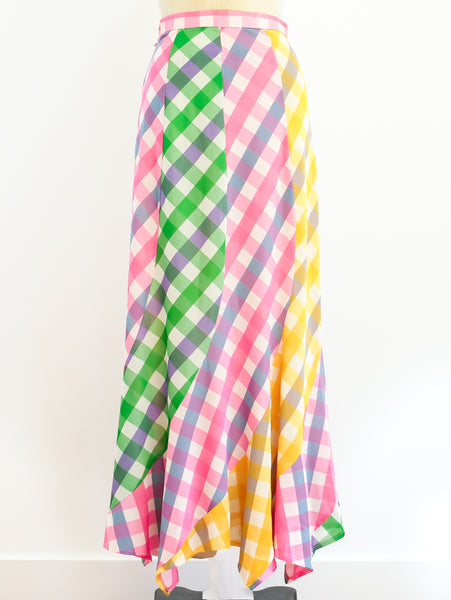 Pastel Rainbow Check Skirt