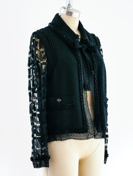 Chanel Lace Sleeved Boucle Jacket
