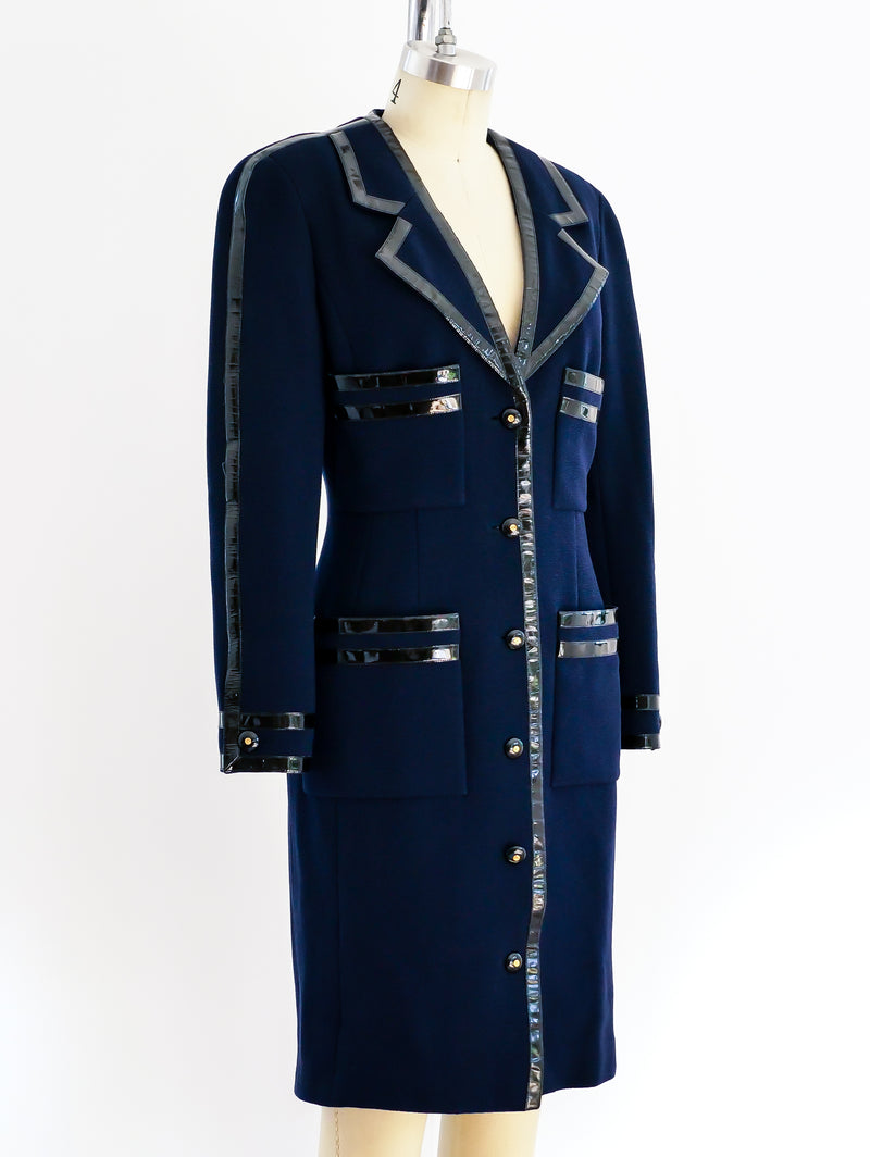 Chanel Coat Dress with Patent Trim