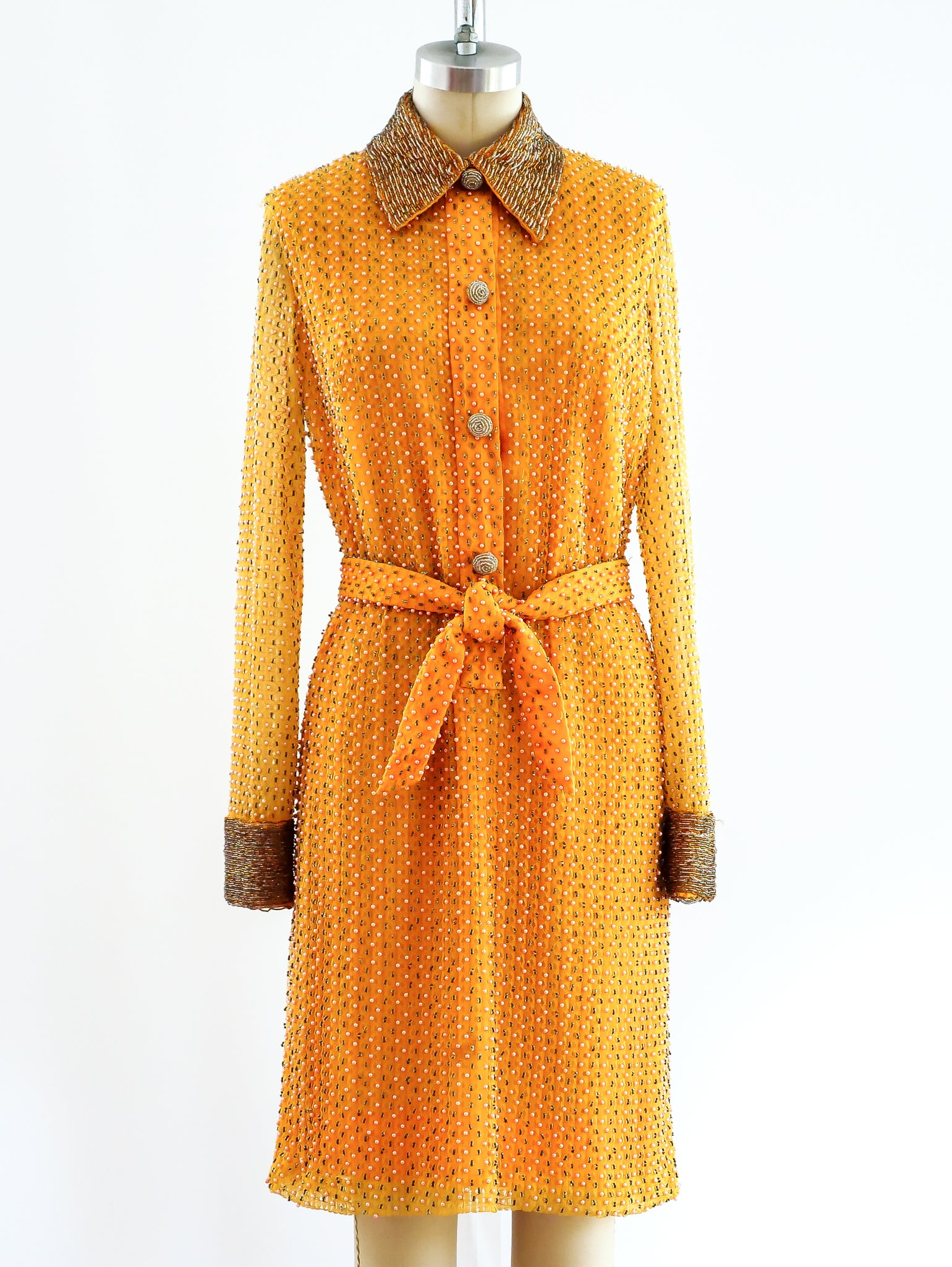 Tangerine Beaded Shirt Dress