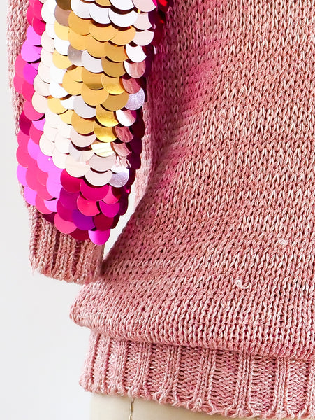 Pink Pailette Embellished Sweater