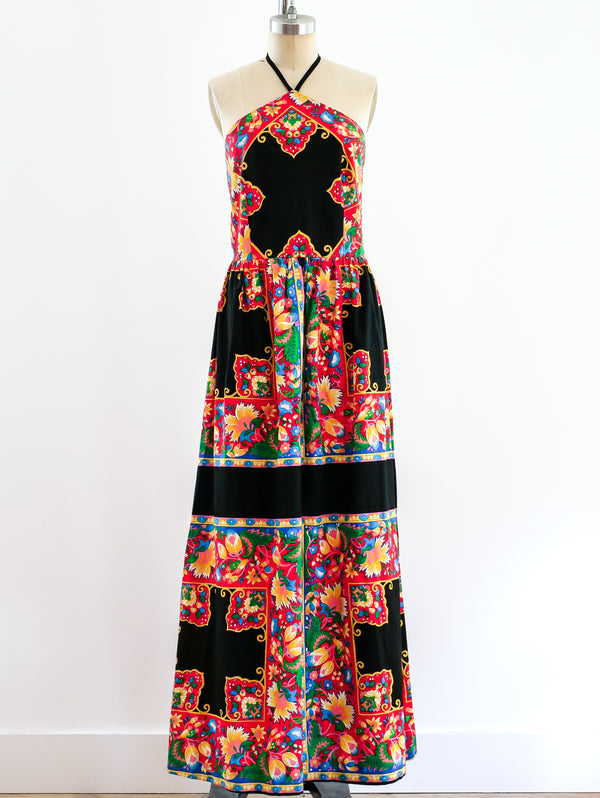 Scarf Print Halter Dress