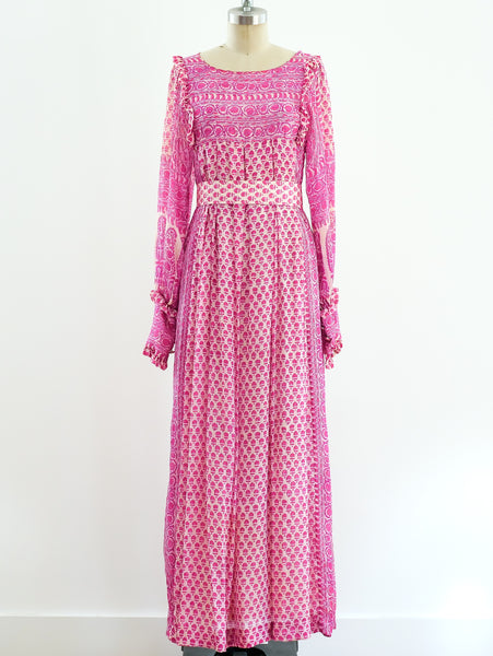 Raksha Block Printed Pink Silk Indian Dress