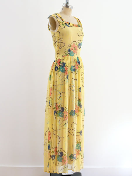 1930's Floral Painted Yellow Net Dress