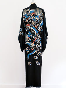 Blue Dragon Embroidered Silk Robe