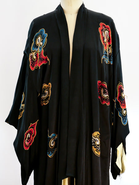 Golden Dragon Embroidered Silk Robe