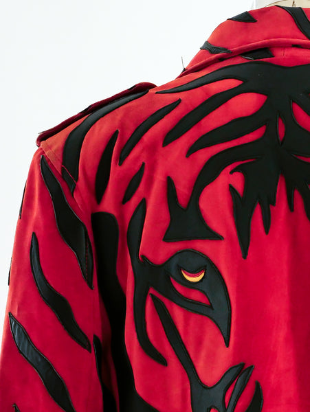 Tiger Applique Suede Jacket