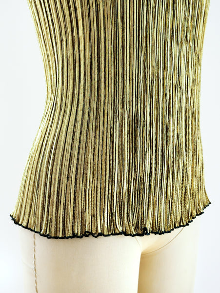 Gold Pleated Tank