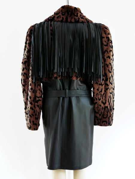 Yves Saint Laurent Fringed Leather and Fur Coat