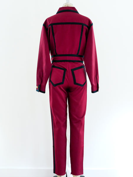 Complice Wine Suit with Navy Trim
