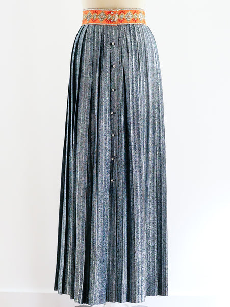 Metallic Silver Pleated Maxi Skirt