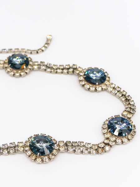 Rhinestone and Blue Crystal Belt