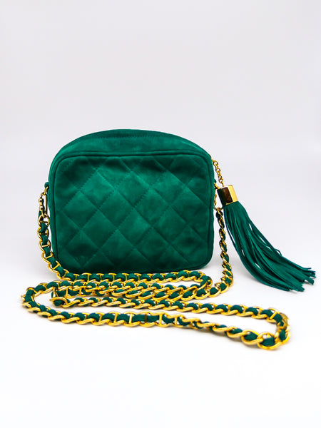 St John Quilted Green Suede Shoulder Bag