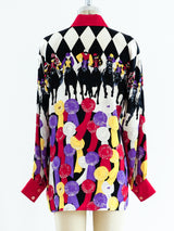 Escada Horse Race Print Silk Blouse