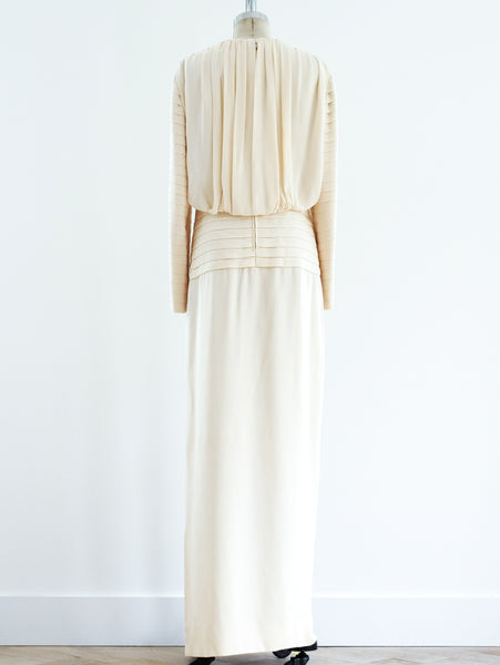Galanos Pleated Silk Gown