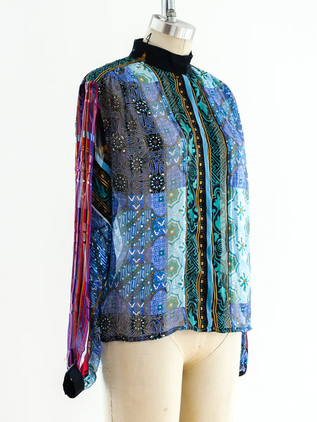 Mixed Print Silk Chiffon Shirt