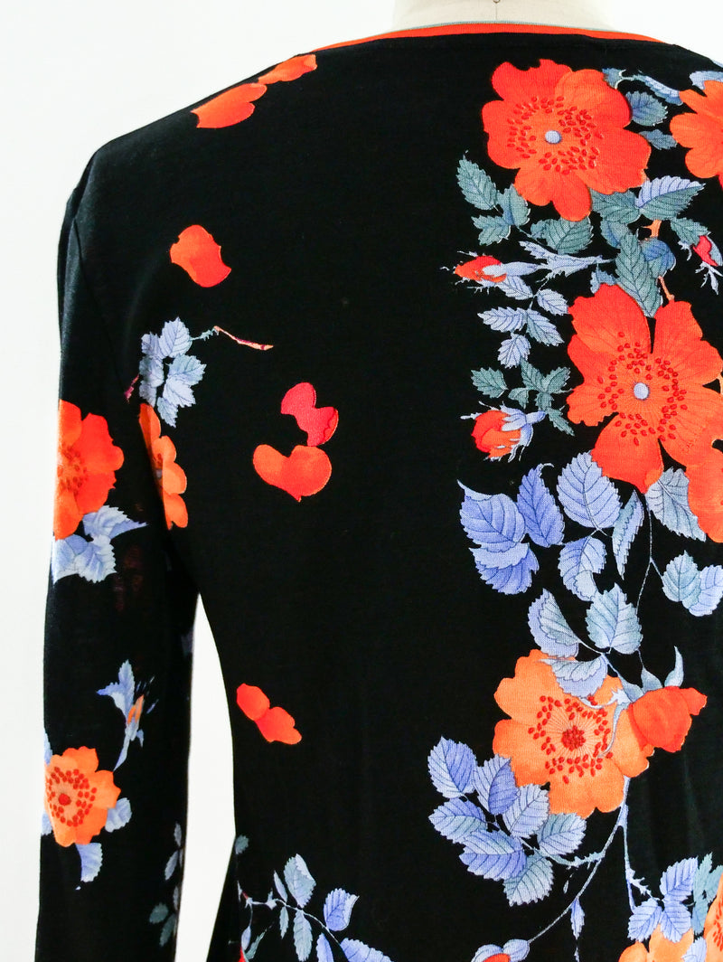 Leonard Paris Floral Jersey Long Sleeve Top