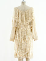 Ivory Yarn Fringe Knit Dress