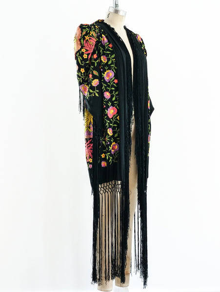1920's Fringed Floral Piano Shawl Duster