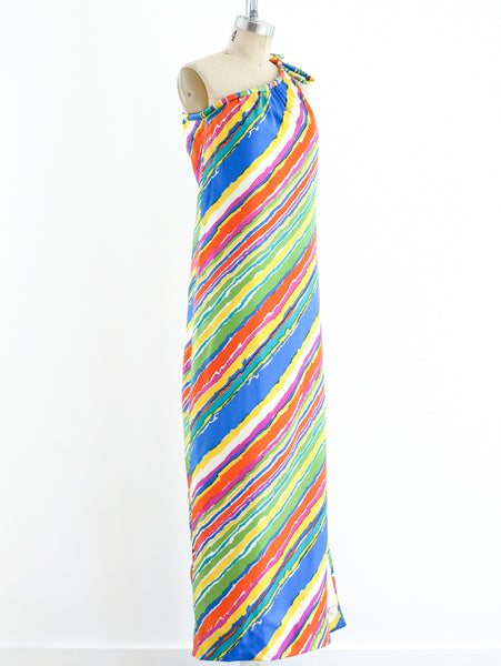 One Shouldered Rainbow Stripe Silk Dress