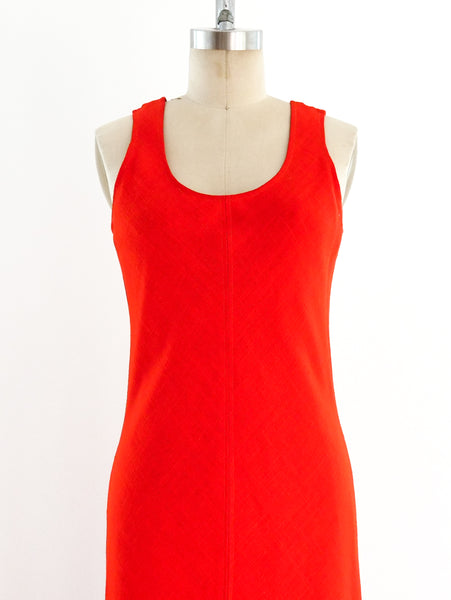 Anne Klein Red Linen Maxi Dress