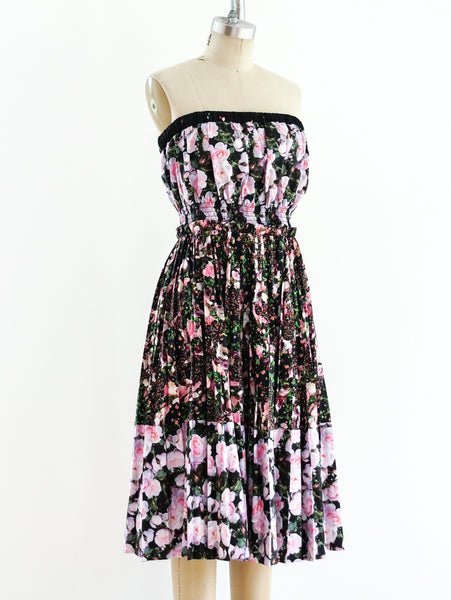 Givenchy Pleated Floral Strapless Dress