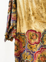 1920's Gold Lame Opera Coat with Floral Embroidery