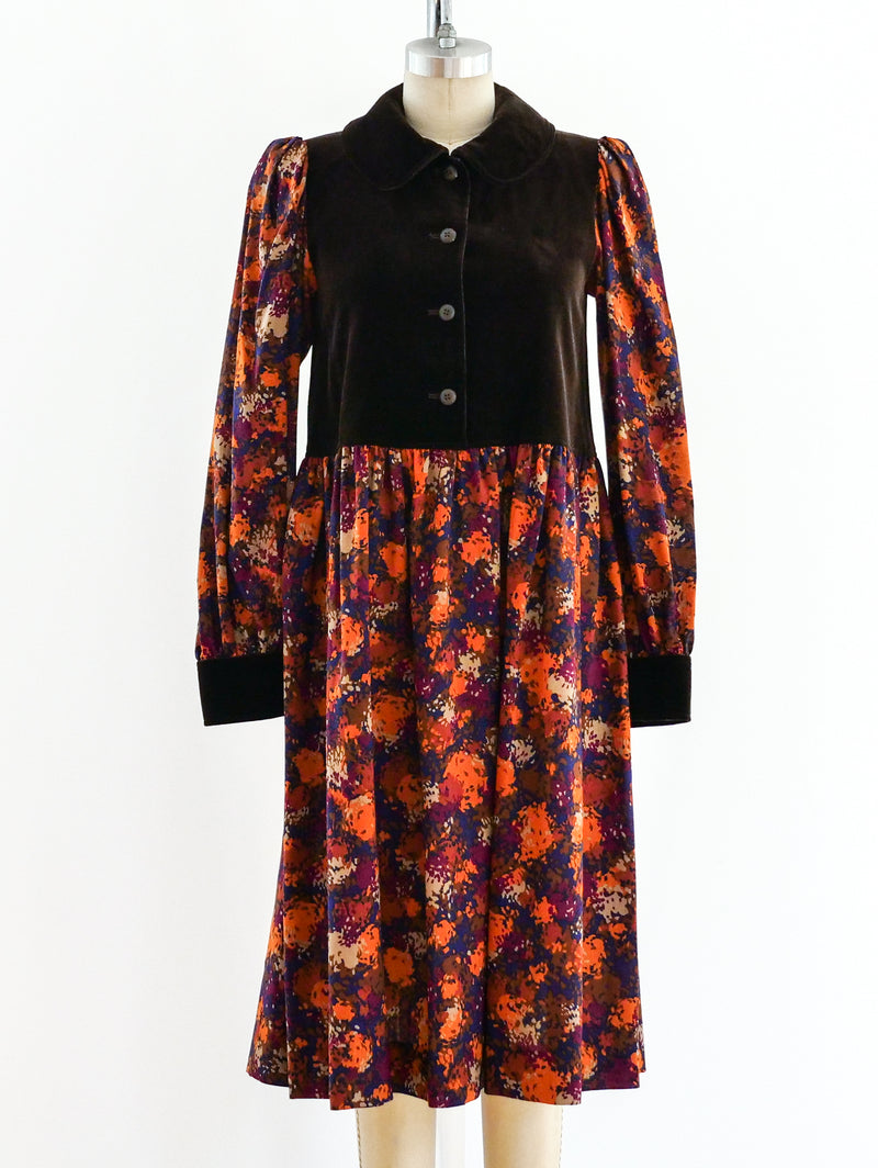 Yves Saint Laurent Printed Fall Dress