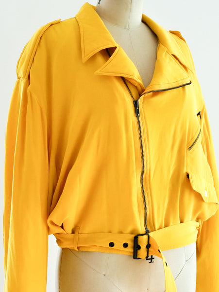 Yellow Silk Motorcycle Jacket