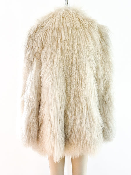 White Mongolian Lamb Fur Coat