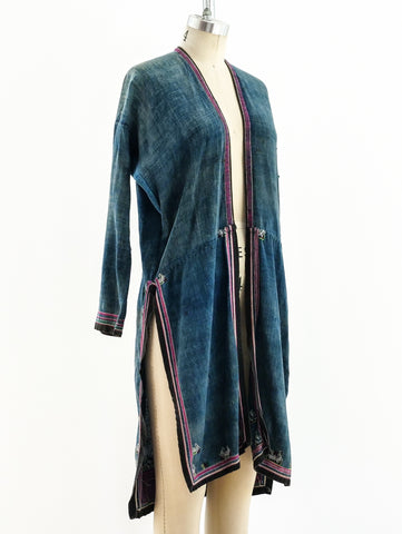 Embroidered Indigo Duster