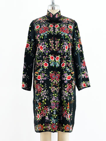 Floral Embroidered Silk Duster