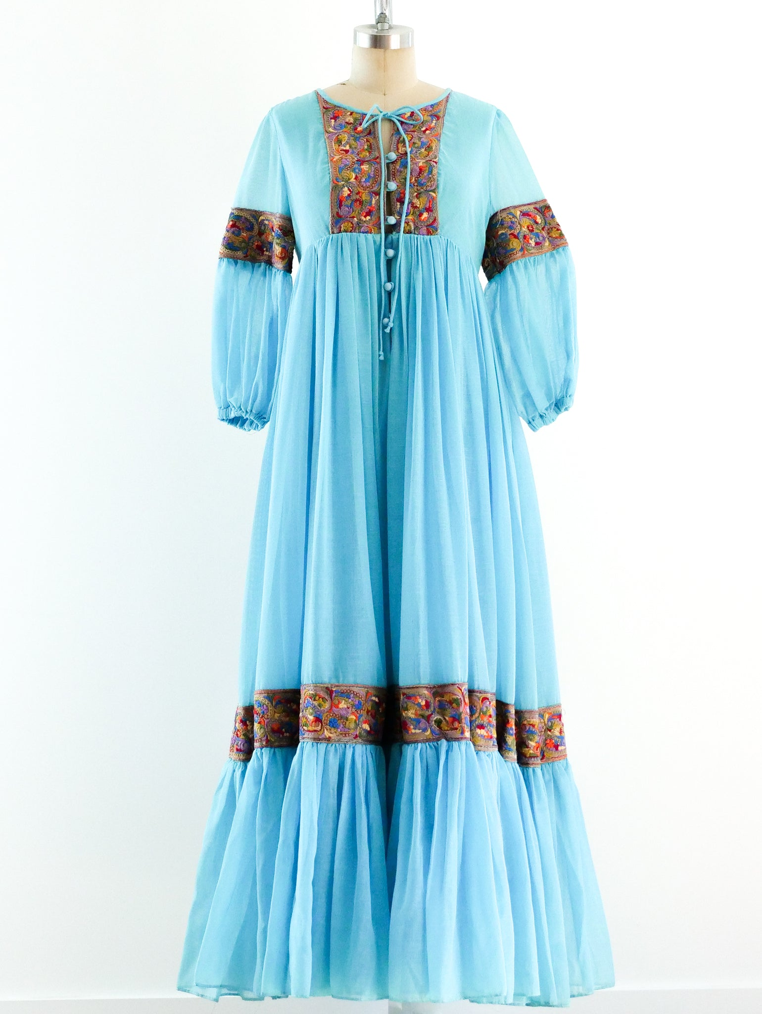 Turquoise Embroidered Trapeze Dress