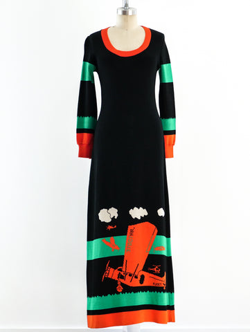 Sant'Angelo Airplane Knit Maxi Dress