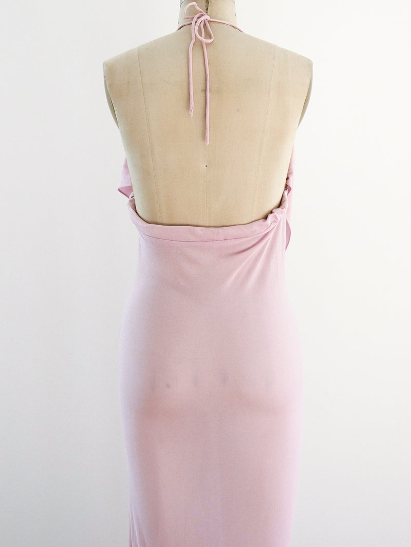 Lilac Jersey Open Back Ruffle Dress