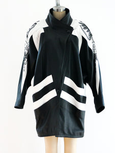 Black and White Longline Leather Jacket