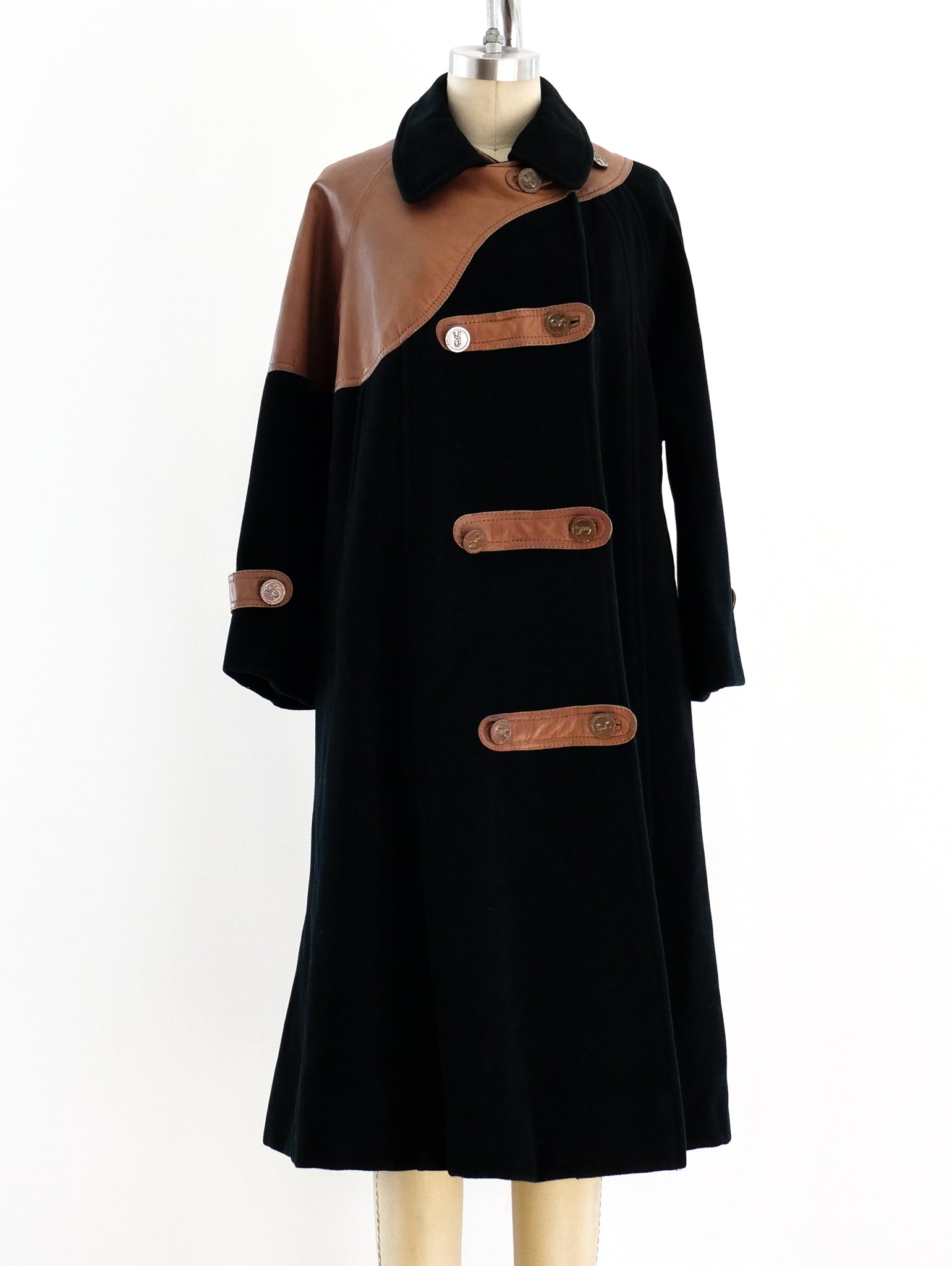 Roberta di Camerino Wool and Leather Coat