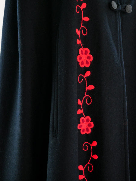 Wool Floral Embroidered Cape