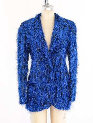 Krizia Blue Tinsel Jacket