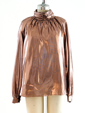 Copper Lurex High Neck Blouse