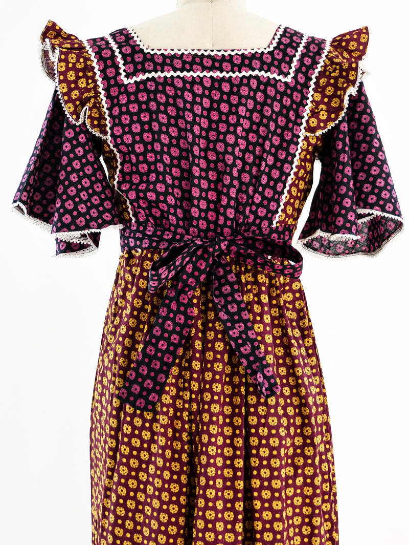 Mixed Block Print Belted Dress