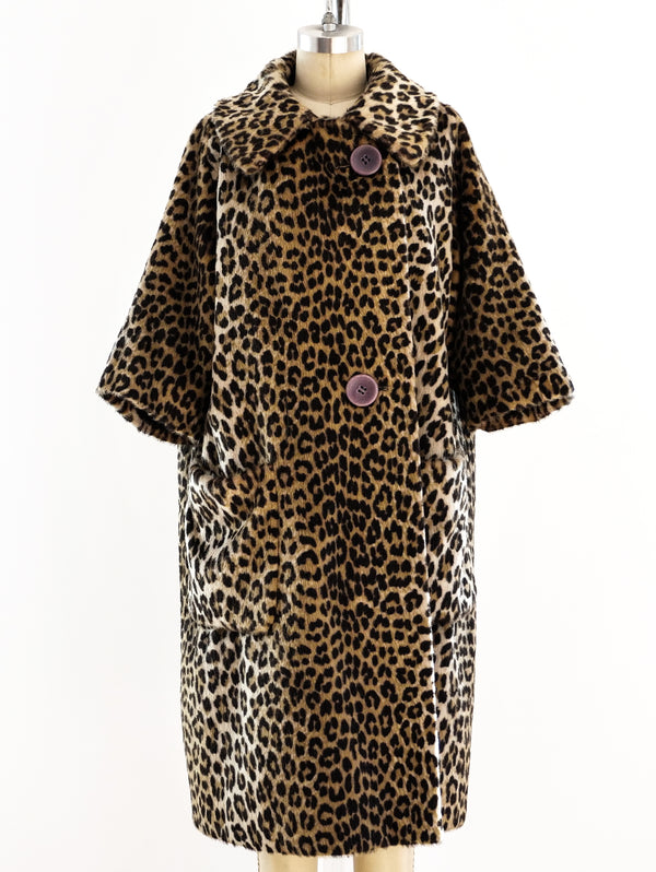 Faux Leopard Fur Swing Coat