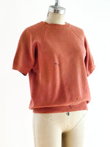 Paint Stained Coral Short Sleeve Sweatshirt