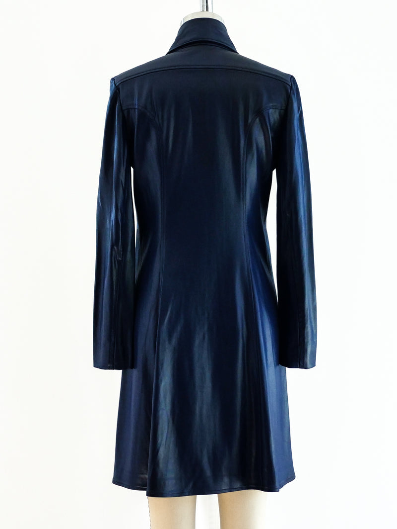 1960's Blue Satin Jersey Shirt Dress