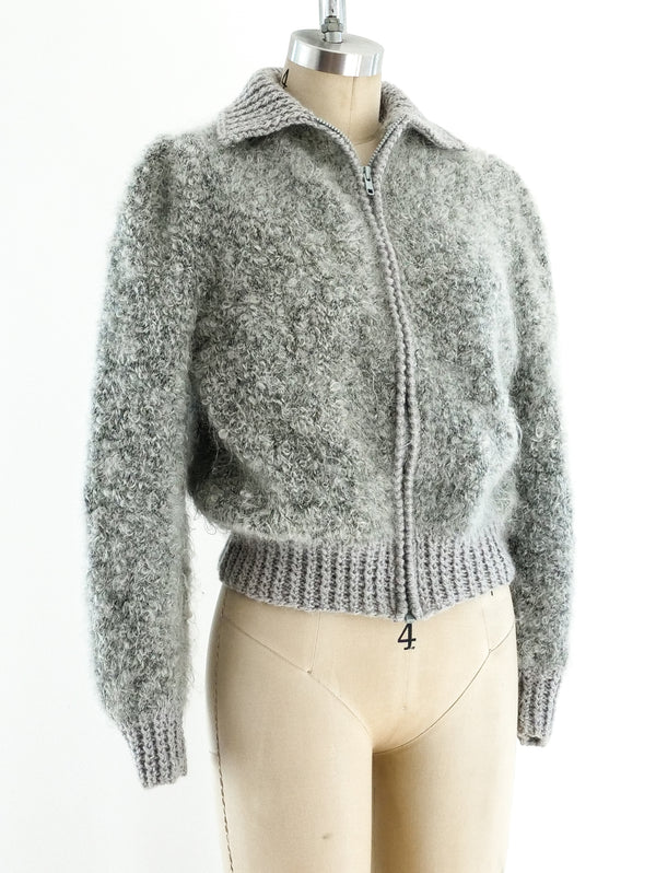 Grey Zip Front Bomber Sweater