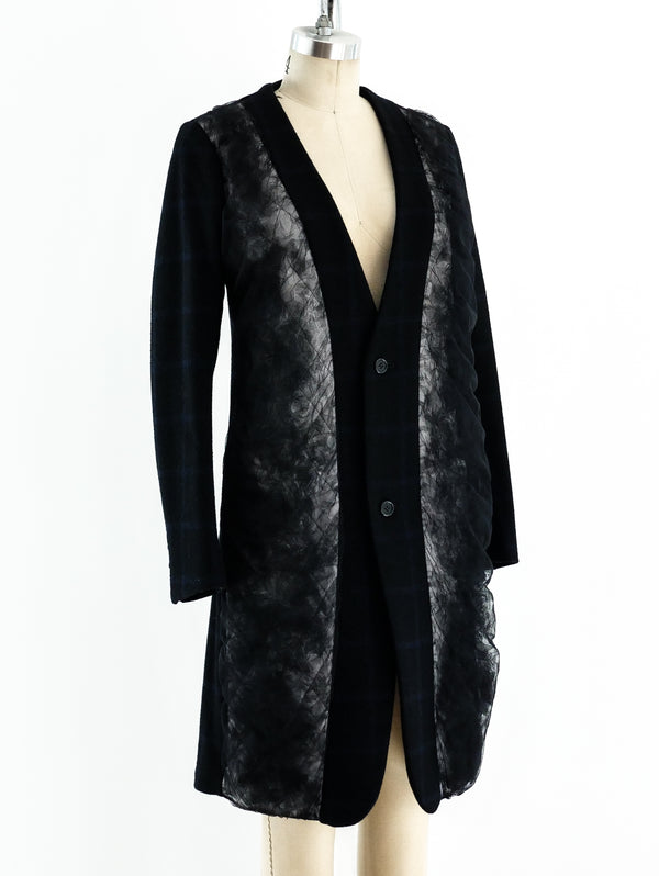 Noir Tulle Panel Wool Jacket