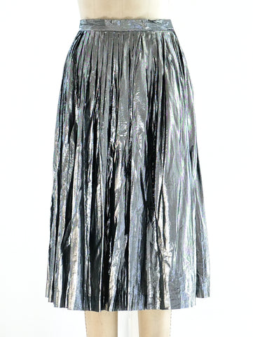 Silver Lurex Pleated Skirt