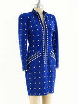 Studded Electric Blue Knit Dress
