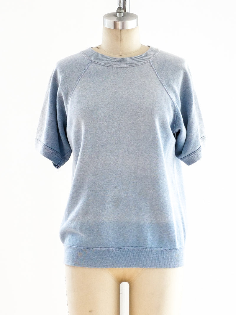 Pale Blue Short Sleeve Sweatshirt